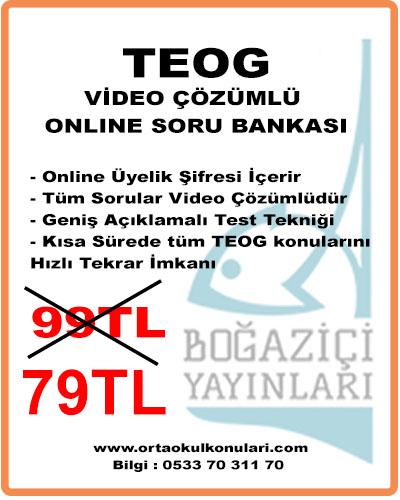 TEOG TÜM DERSLER ONLINE VIDEO ÇÖZÜMLÜ SORU BANKASI -